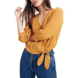 Madewell Yellow Silk Wrap Top, Size Medium